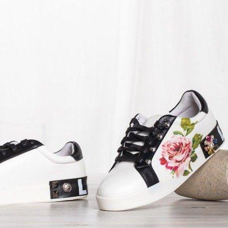 Białe buty sportowe z ozdobami Keisha - Obuwie