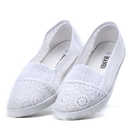 Białe, koronkowe balerinki - Obuwie