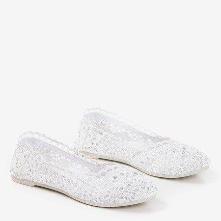 Białe koronkowe baleriny Christella - Obuwie