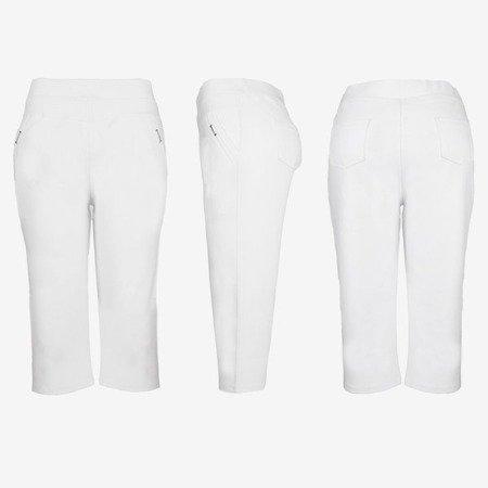 Białe legginsy krótkie ze ściągaczem - Spodnie