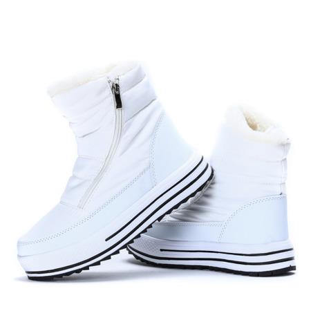 Białe, ocieplane śniegowce damskie- Obuwie