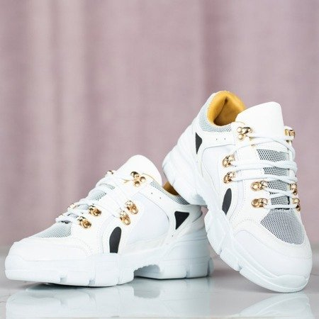 Białe sneakersy damskie na grubej podeszwie Olyssotia - Obuwie