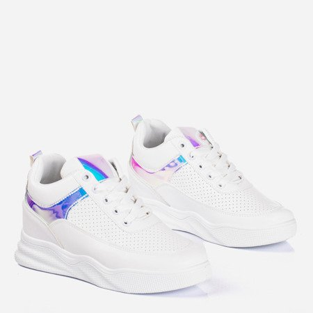Białe sneakersy na krytym koturnie z holograficznymi wstawkami Fassia - Obuwie