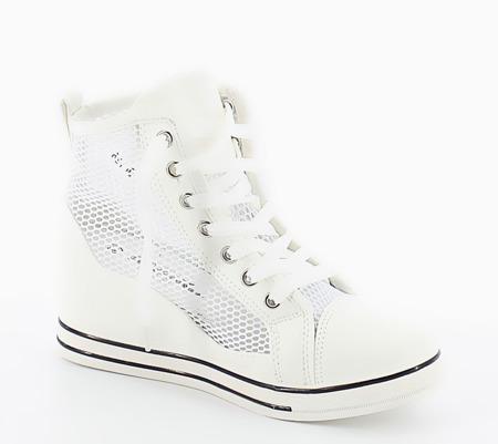 Białe sneakersy z siatki Tredena - Obuwie