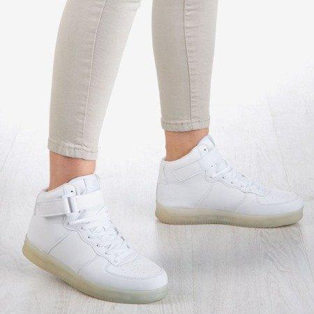 Białe sportowe buty damskie świecące Led Love - Obuwie
