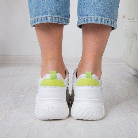 Białe sportowe buty z zieloną wstawką Miasea - Obuwie