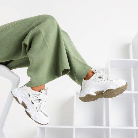 Białe sportowe sneakersy damskie Lyon - Obuwie