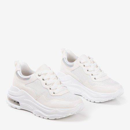 Białe sportowe sneakersy damskie z holograficznymi wstawkami Piulesa - Obuwie
