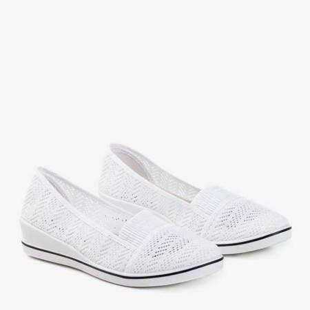 Białe tenisówki na niskiej koturnie Faset - Obuwie