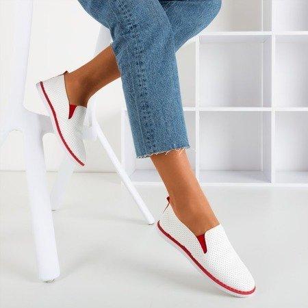 Białe tenisówki slip - on z czerwonymi wstawkami Clogsi - Obuwie