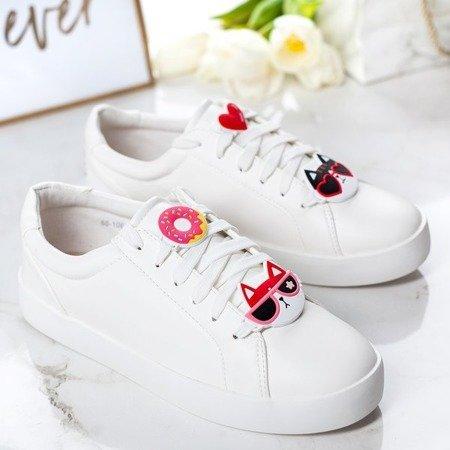 Białe tenisówki z ozdobami Sofiya - Obuwie