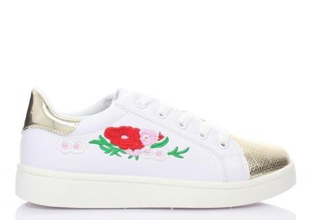 Białe trampki z kwiatowym haftem - Obuwie
