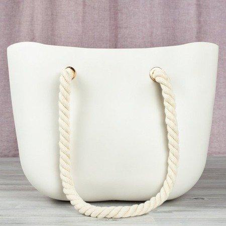 Biało - beżowa torba gumowa z uchwytami - Torebki