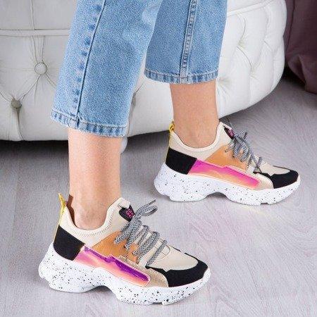 Biało-beżowe ugly shoes na grubej podeszwie Tanya - Obuwie
