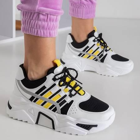 Biało-czarne sneakersy damskie na platformie Soyea - Obuwie