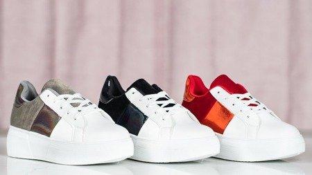 Biało-czerwone obuwie sportowe na platformie Des - Obuwie