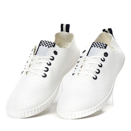 Biało-granatowe tenisówki ażurowe Kai - Obuwie