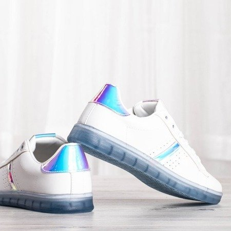 Biało-niebieskie tenisówki z holograficzną wstawką Dalia - Obuwie