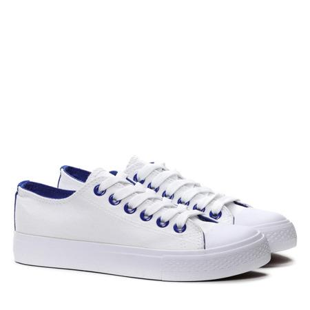 Biało-niebieskie trampki z tkaniny- Obuwie
