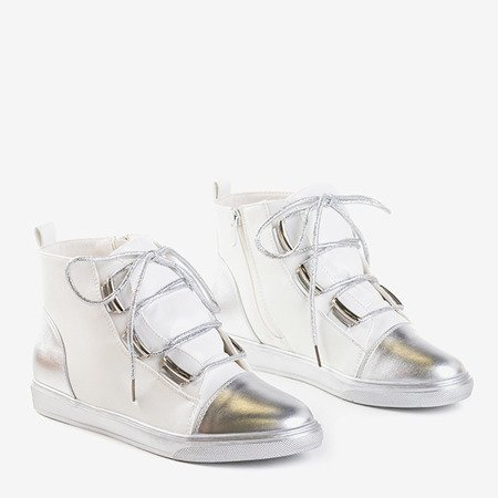 Biało-srebrne damskie sneakersy Enzo - Obuwie
