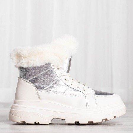 Biało-srebrne sportowe obuwie z ociepleniem  Bernadet - Obuwie