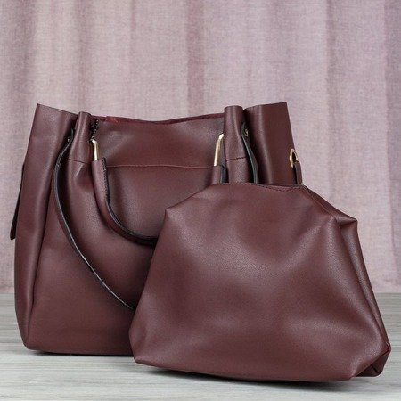 Bordowa duża torba damska na ramię - Torebki