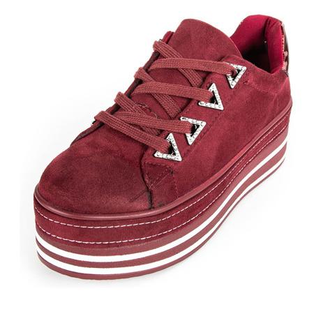 Bordowe buty sportowe na platformie Loyisa - Obuwie