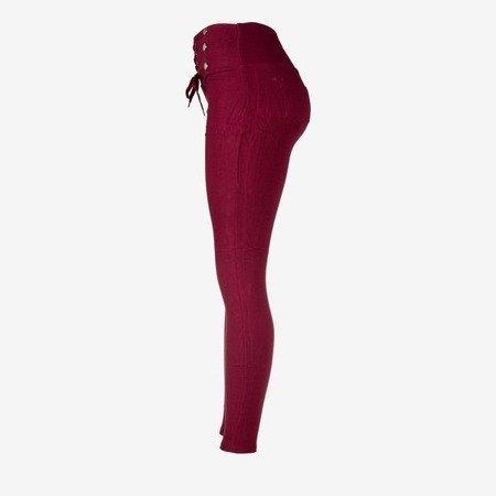 Bordowe damskie spodnie typu tregginsy z wiązaniem - Spodnie