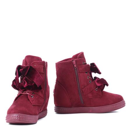 Bordowe sneakersy na krytym koturnie Eleanor - Obuwie