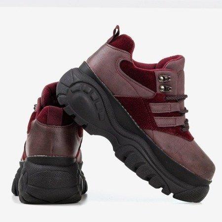 Bordowe sportowe sneakersy damskie na masywnej podeszwie Neda - Obuwie