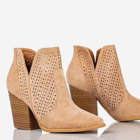 Brązowe botki a'la kowbojki Bess - Obuwie
