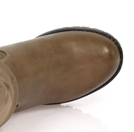 Brązowe botki na słupku z wywijaną cholewką Lillianna- Obuwie