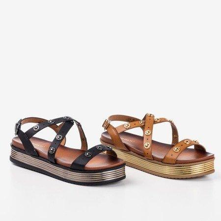 Brązowe damskie sandały na platformie Joely - Obuwie