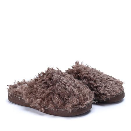 Brązowe kapcie Puffy - Obuwie