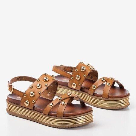 Brązowe sandały damskie z dżetami Solerina - Obuwie