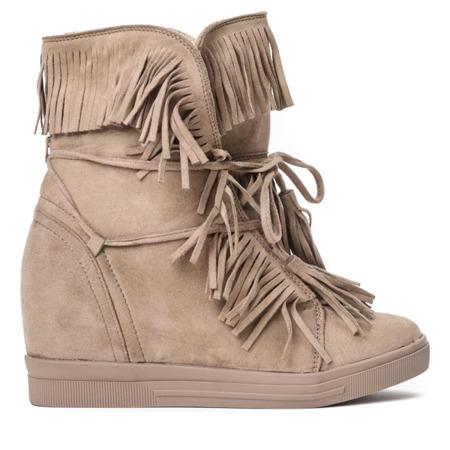 Brązowe sneakersy na krytym koturnie Cosmon - Obuwie