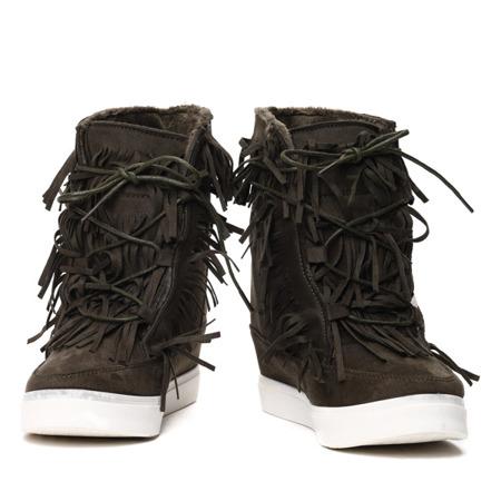 Ciemnozielone sneakersy z frędzlami na krytym koturnie Kennedy - Obuwie