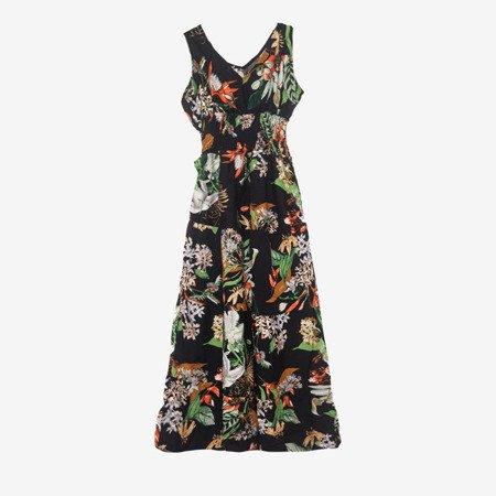 Czarna maxi sukienka w kwiaty - Odzież