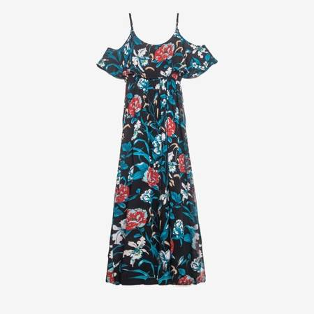 Czarna sukienka w kwiatki maxi - Odzież