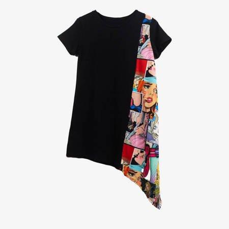 Czarna sukienka z asymetrycznym dołem - Odzież