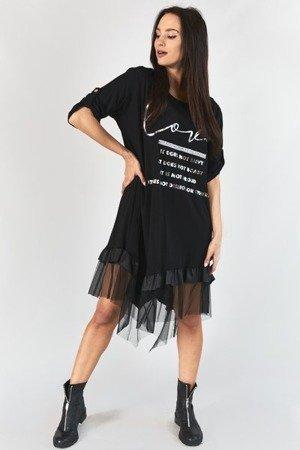 Czarna sukienka z podwijanymi rękawami - Odzież