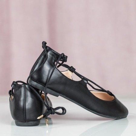 Czarne baleriny z wiązaniem Tina - Obuwie