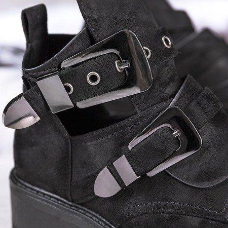 Czarne botki na płaskim obcasie z wycięciem Iryna - Obuwie