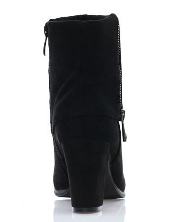 Czarne botki suwakami - Obuwie