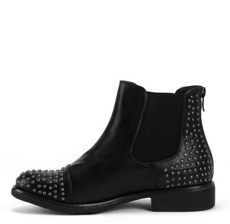 Czarne botki z elastyczną cholewką - Obuwie