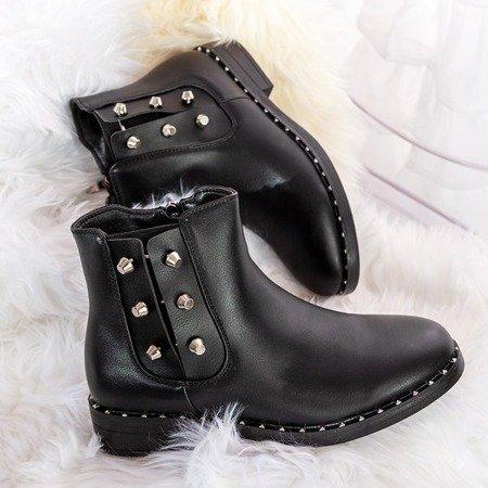 Czarne botki z metalicznymi ozdobami Waldi - Obuwie