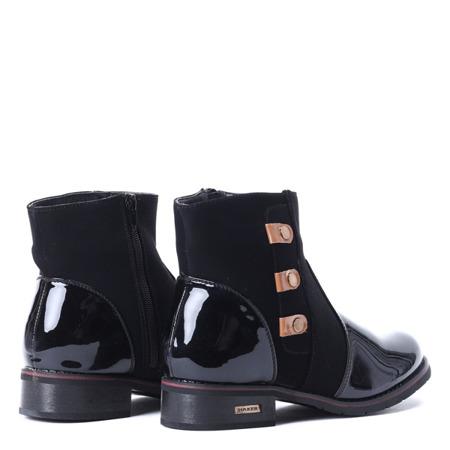 Czarne botki z suwakiem i dżetami - Obuwie