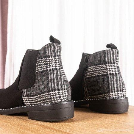 Czarne botki z tkaninową wstawką w kratkę Fireli - Obuwie