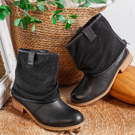 Czarne botki z wywijaną cholewką Taniya - Obuwie