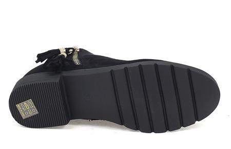 Czarne botki ze złotym suwakiem - Obuwie
